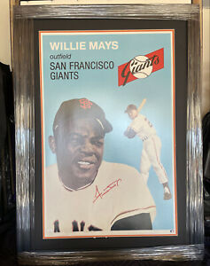 Willie Mays Signed 20x30 Vintage Classic Poster JSA Auto Autographed Giants
