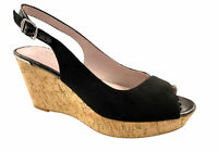LADIES NEXT FAUX SUEDE LEATHER LINED COMFORT PEEP TOE WEDGE SANDALS BLACK UK 3-9