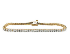 Ladies 10K Yellow Gold Finish 1 Row Fanook Set Tennis Natural Diamond Bracelet