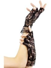 Halloween Black Fingerless Lace Gloves Halloween Fancy Dress Accessory Smiffys