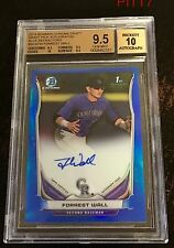 FORREST WALL RC AUTO 2014 BOWMAN CHROME DRAFT BLUE REFRACTOR BGS GEM MINT 9.5/10