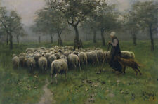 Oil painting Shepherdess With a Flock of Sheep by Anton Mauve in spring canvas