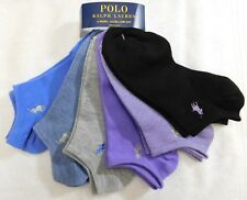 F2 - Polo Ralph Lauren Mixed Color 6 Pack Womens Flat Knit Ultra Low Cut Socks