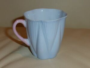 Shelley Fine Bone China Pastel Blue Tall Dainty Cup with Pink Handle