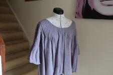 Ladies Lisbeth Dahl Cotton Blouse Grey Size M/L