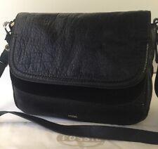 FOSSIL PEYTON LG DBL Flap Leather Xbody Bag ZB691001 BLACK,NWT-FreeShip!