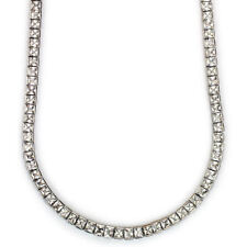 "Square Cut Tennis Necklace High Quality Platinum Plated 30"" Long x 4mm Cz"