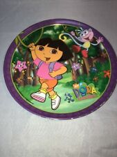 Dora The Explorer Melamine Kids Plate 8 Inches Round Purple 2005