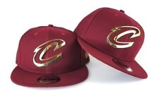 New Era Burgundy Cleveland Cavaliers Gold Metal Badge Logo 9Fifty Snapback Hat