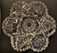 Antique ABP CUT LEAD CRYSTAL GLASS Low CANDY BOWL 6-Sided Hobstars Scallops Etc