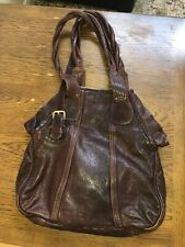 GUSSTO Extra LARGE Leather Shopper Tote PURSE Hand bag Burgundy Authentic EUC