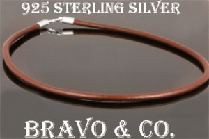 1N-009 Finely Made Sterling Silver New 4 MM Genuine Leather Cord Men Necklace.
