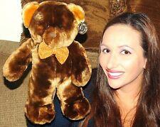 DANDEE DAN DEE Teddy Bear Plush BROWN tan CORDUROY BOW PLUSH STUFFED LOVEY TOY