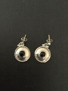 OLA GORIE Sterling Silver ORKNEY Earrings  GARNET stone NEW