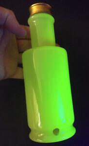 """Vintage Vaseline Glass Bottle Shape 8.5"""" Electric Lamp Base In Uranium"""
