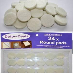 Felt Self Adhesive Pads Protects Wood Vinyl Laminate Floors Cream Pack 24R