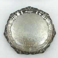 """Vintage POOLE Silver Plated Footed 10"""" Serving Tray Old English Pattern Bar Ware"""
