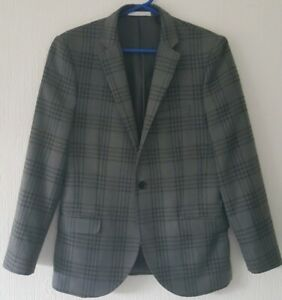 """M0SS LONDON GREY CHECKED SUIT STYLE JACKET SLIM FIT 36""""CHEST"""