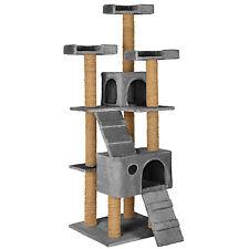 Arbre à chat griffoir grattoir jouet geant 2 grottes 169cm pour chats gris