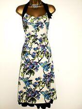 BEAUTIFUL KAREN MILLEN CREAM FLORAL PRINT HALTERNECK EVENING DRESS 12