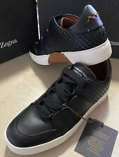 New $995 Ermenegildo Zegna Couture Leather Sneakers Shoes Black 9 US Italy