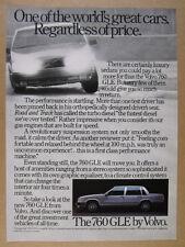 1984 Volvo 760 GLE Sedan photo vintage print Ad