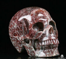 "Huge 5.1"" Garnet Carved Crystal Skull, Realistic, Crystal Healing"