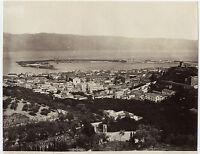 Italia Panorama Di Messina Sommer Vintage Albumina Ca 1875