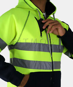 Hi Viz Hoodie Multi Pockets High Visibility Jacket Hooded SweatShirt Top S - 5XL