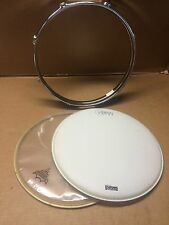 """Triple Flange 13"""" 8 Hole Snare Drum Rims Hoops with drum heads .. Pair - B072"""