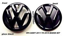 VW Caddy Gloss Black Front & Rear Badge Set 2011 to 2015 UK Seller.