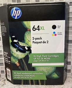 New Genuine HP 64XL Black & Tri Color Combo Ink Cartridges X4D93BN Exp 2023