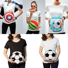 Maternity White Tee Tops 3D Watermelon Cartoon Pregnancy T-Shirt Women Plus Size