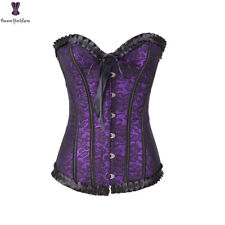 Steampunk Purple Overbust Corset Lace Up Waist Bustier Top Gothic Corselet