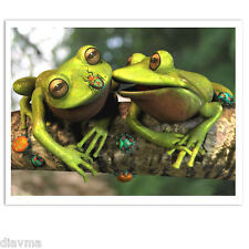 © ART - green tree FROG friends are true riches- Original Artist print by Di