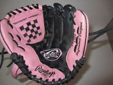 "Rawlings 9"" Baseball Mitt t-ball baseball glove pink black Players series Pl90Pb"
