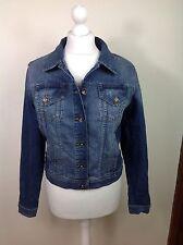 Ladies Women's Indigo M&S blue Denim Jacket Distressed Size 10 New RRP£35 (WG)