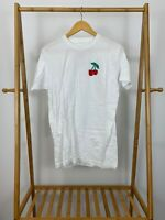 Lana Del Rey Cherry Embroidered White Short Sleeve Authentic T-Shirt Size M RARE
