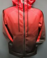 Men's Rebel Minds Gradation-Colored Front Full Zip Hoodie - Black/Red