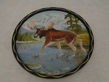Vintage 1950's Round Metal Serving Tray James L. Artig Wildlife Art (Cat.#7C013)