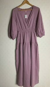 FREE PEOPLE LILAC PINK COTTON MIDI MAXI DRESS (SIZE S) RRP £98