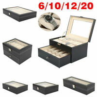 1-24 Grids Leather Watch Display Case Jewelry Collection Storage Holder Box Gift