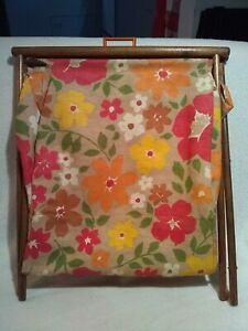 VTG SEWING KNIT BASKET MOD Flower Power CLOTH BAG - CLOTH ONLY