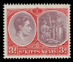 ST KITTS-NEVIS GVI SG73b, 3d dull reddish purple & carmine-red, M MINT. Cat £50.