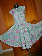 Vtg 70s SILKY Jersey Floral Watercolor Print Full Skirt Boho Disco Flared DRESS