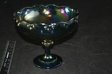 Indiana Glass Iridescent Blue Carnival Glass Garland Bowl Fruit Footed Compote
