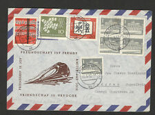 GERMANY TO SERBIA-LETTER-MULTI FRANKING-EUROPA-POSTER STAMP-LOCOMOTIVE-1962.