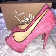 CHRISTIAN LOUBOUTIN Pink Altadama Watersnake 140mm Pumps Heels Shoes 8.5