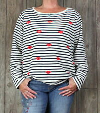 Betsey Johnson Top 2x size Ivory Blue Red Embroidered Lips Blouse Plus Fun Shirt