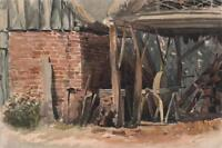 FARM WOOD STACK IN BARN Antique Watercolour Painting c1900